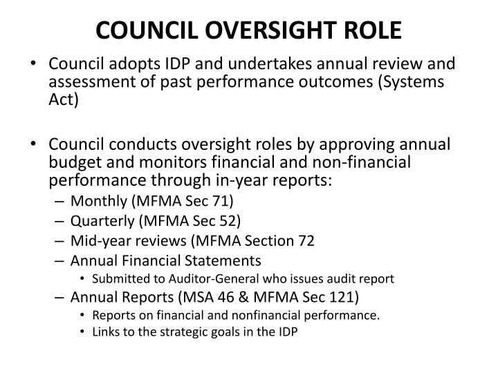 COUNCIL OVERSIGHT ROLE