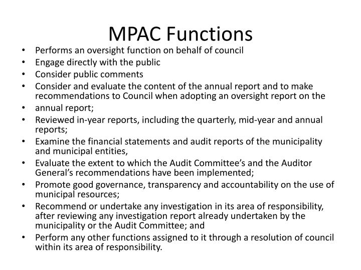 MPAC Functions