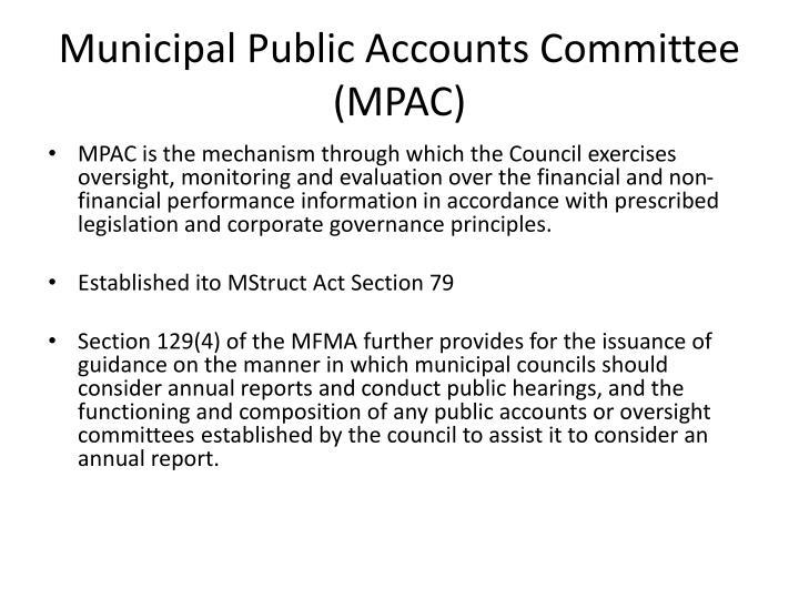Municipal Public Accounts Committee (MPAC)