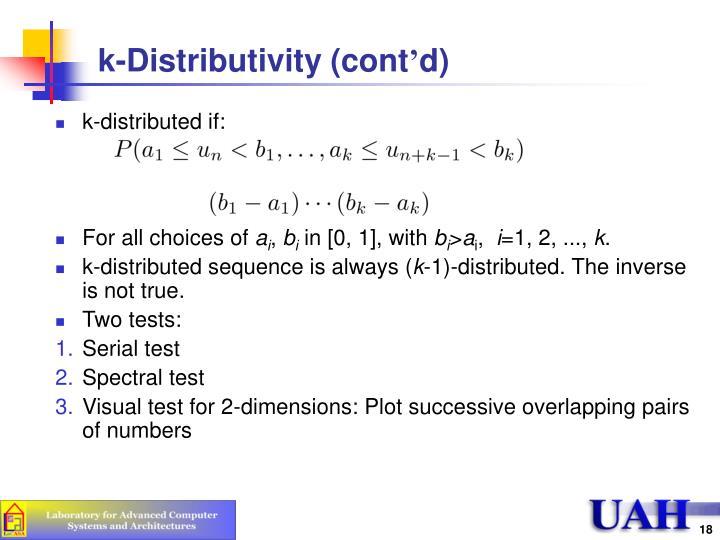 k-Distributivity (cont