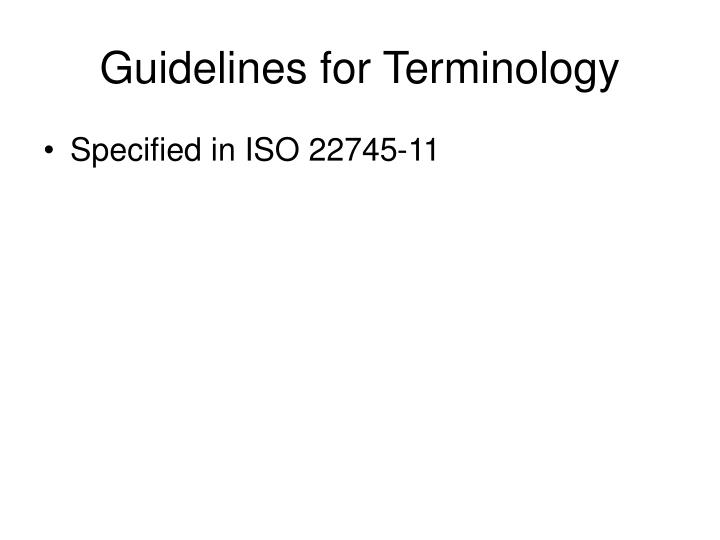 Guidelines for Terminology