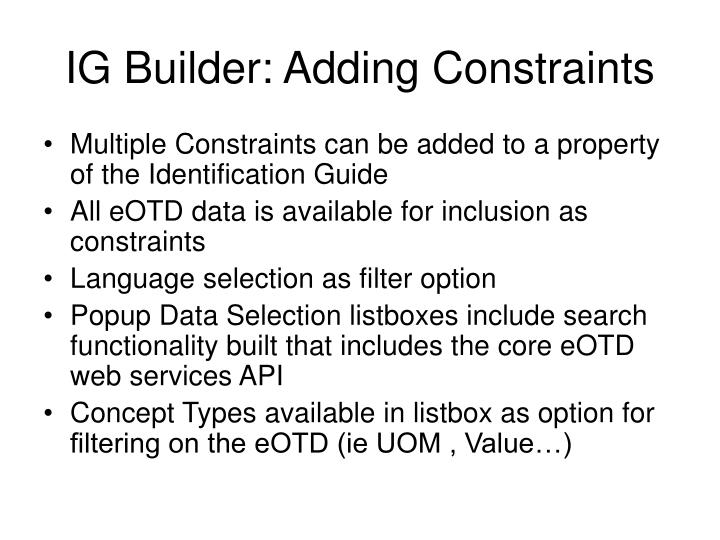 IG Builder: Adding Constraints