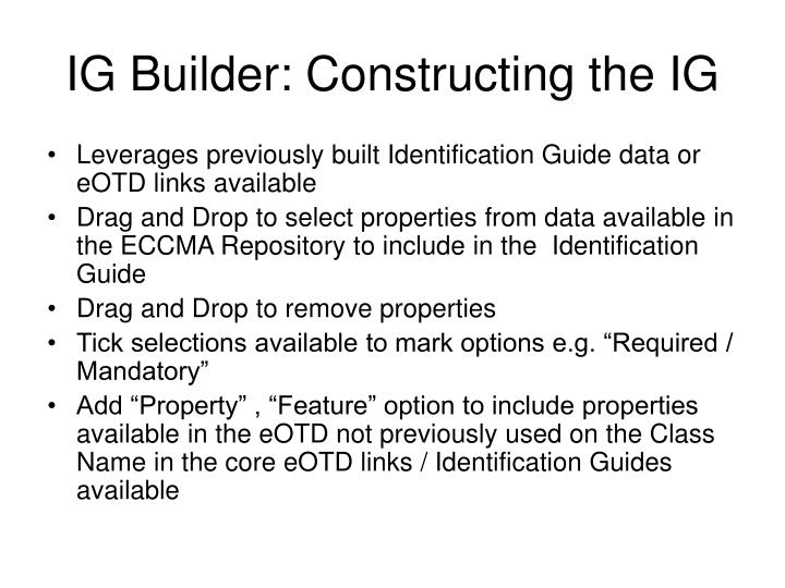 IG Builder: Constructing the IG