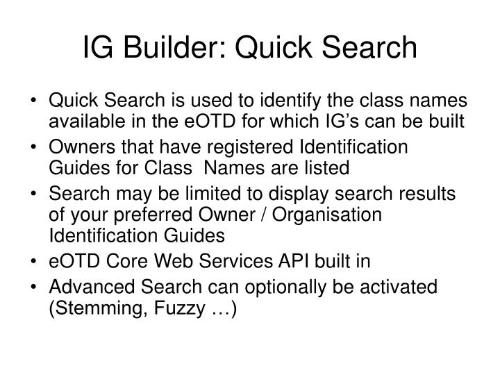 IG Builder: Quick Search