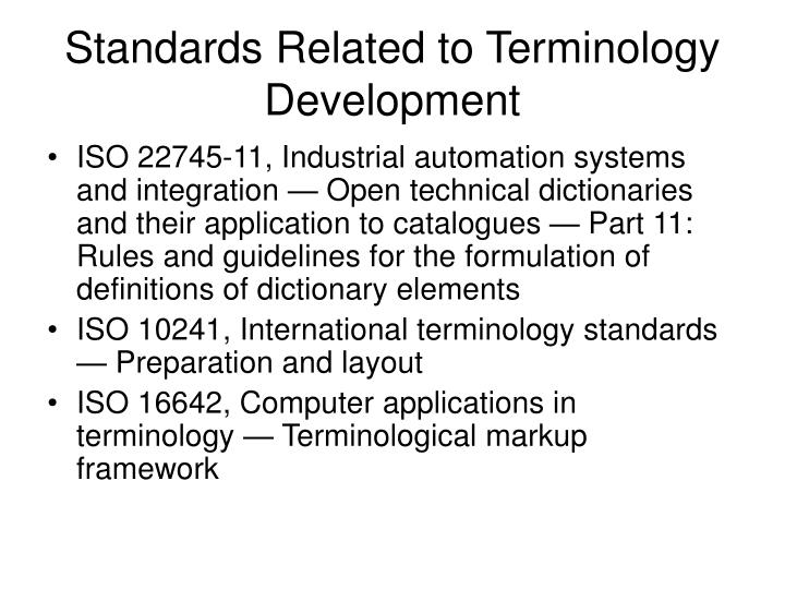 Standards Related to Terminology Development