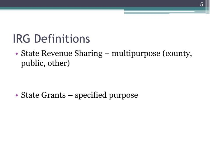IRG Definitions