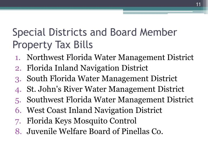 Special Districts and Board Member Property Tax Bills