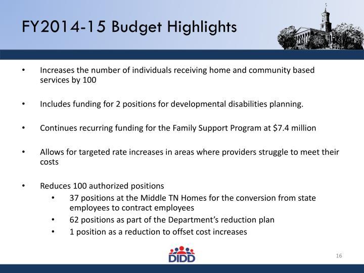 FY2014-15 Budget Highlights