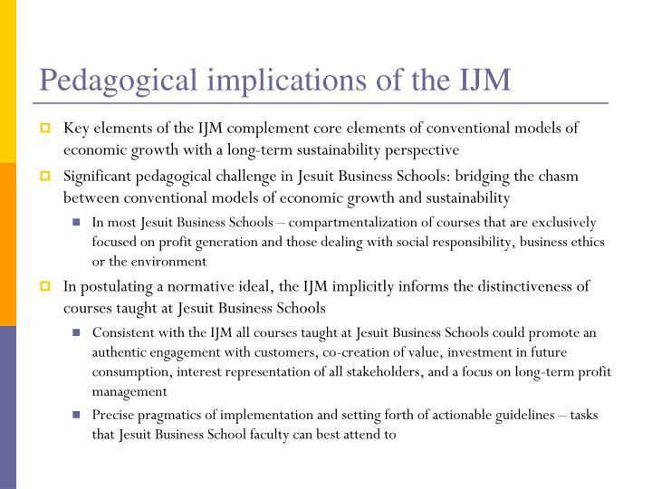 Pedagogical implications of the IJM