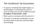 the conditional no guarantees