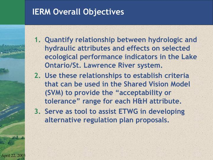 ierm overall objectives