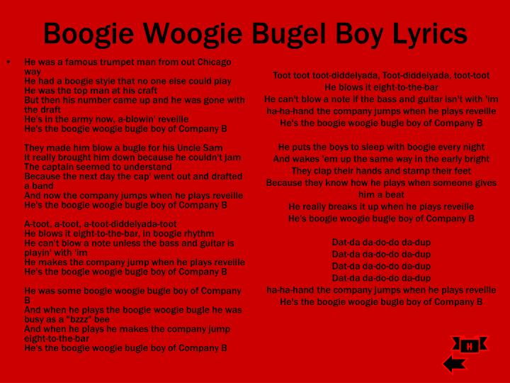 Boogie Woogie Bugel Boy Lyrics