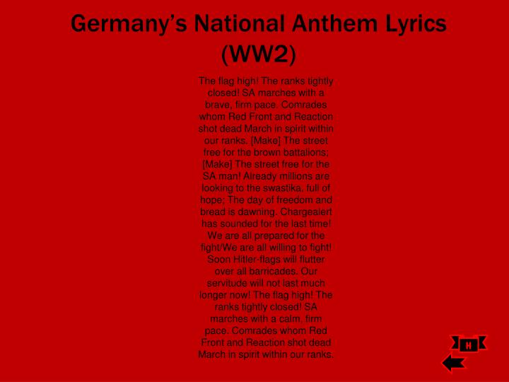 Germany's National Anthem Lyrics (WW2)