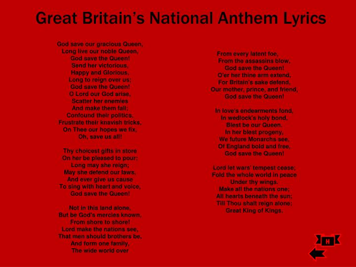 Great Britain's National Anthem Lyrics