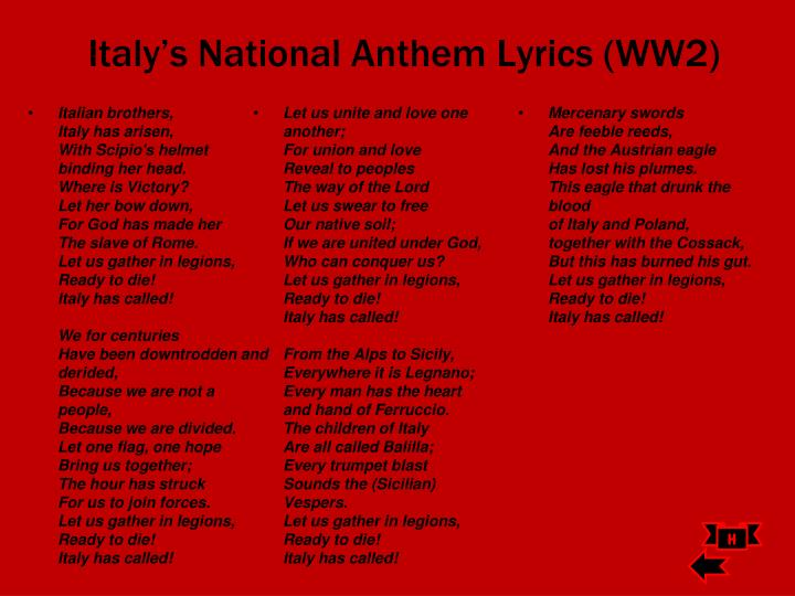 Italy's National Anthem Lyrics (WW2)
