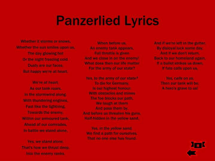 Panzerlied Lyrics