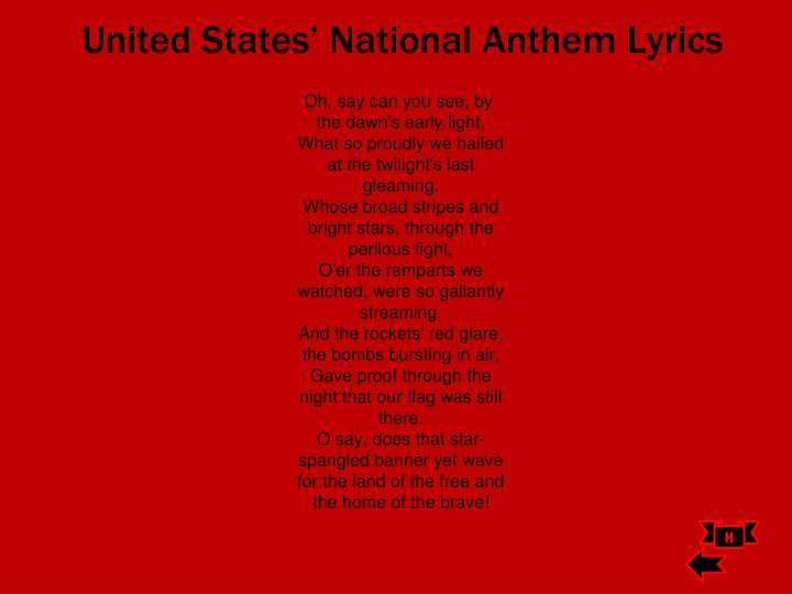 United States' National Anthem Lyrics