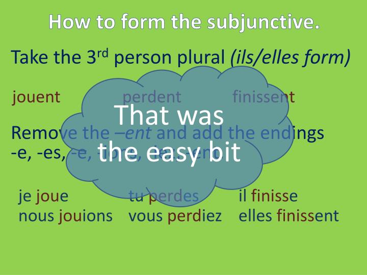 How to form the subjunctive.