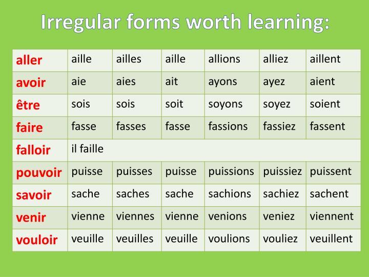 Irregular forms worth learning: