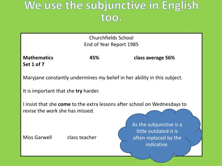 We use the subjunctive in English too.