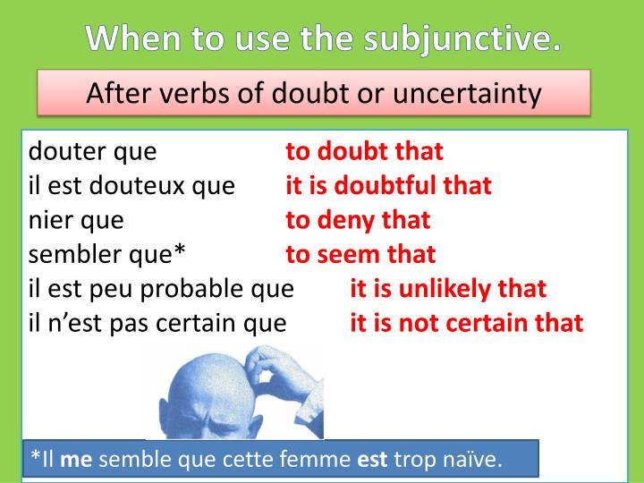 When to use the subjunctive.