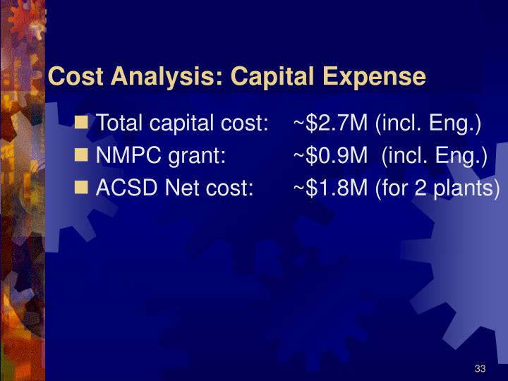 Cost Analysis: Capital Expense