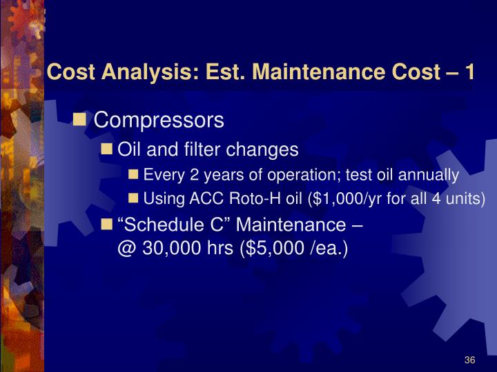 Cost Analysis: Est. Maintenance Cost – 1