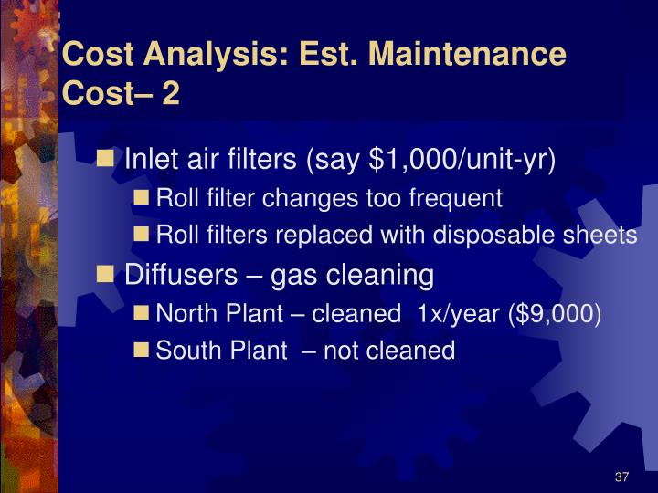 Cost Analysis: Est. Maintenance Cost– 2