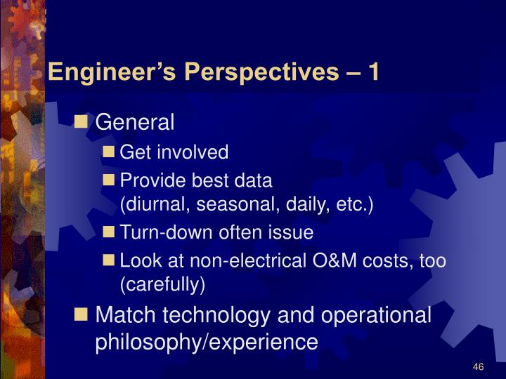 Engineer's Perspectives – 1