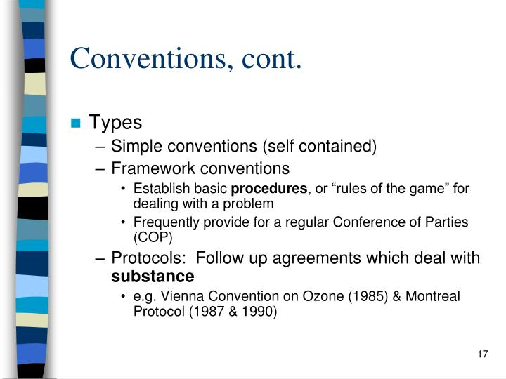 Conventions, cont.
