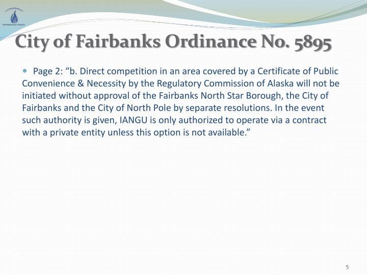 City of Fairbanks Ordinance No. 5895
