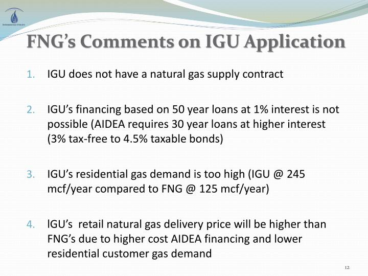 FNG's Comments on IGU Application