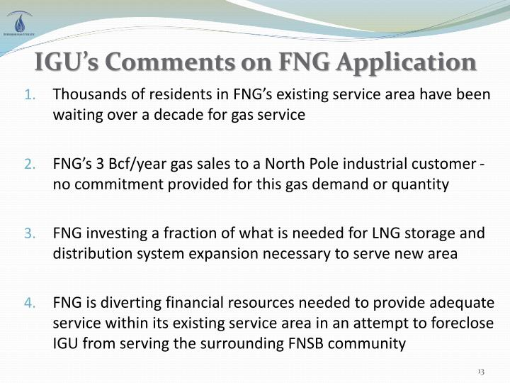 IGU's Comments on FNG Application