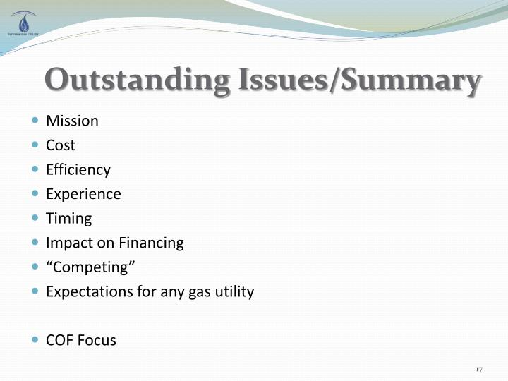 Outstanding Issues/Summary
