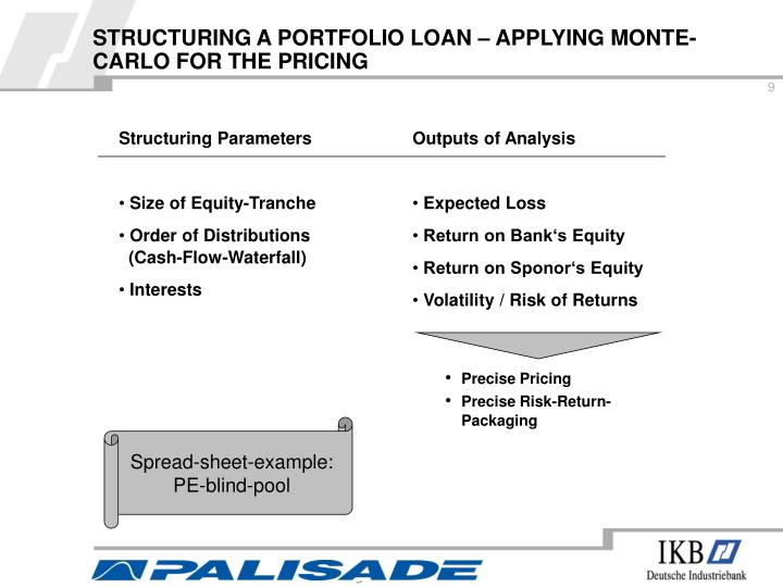 STRUCTURING A PORTFOLIO LOAN – APPLYING MONTE-CARLO FOR THE PRICING