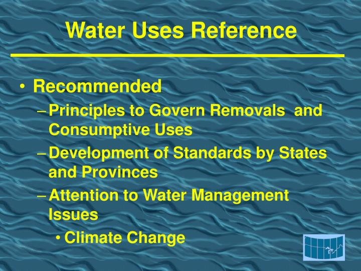 Water Uses Reference