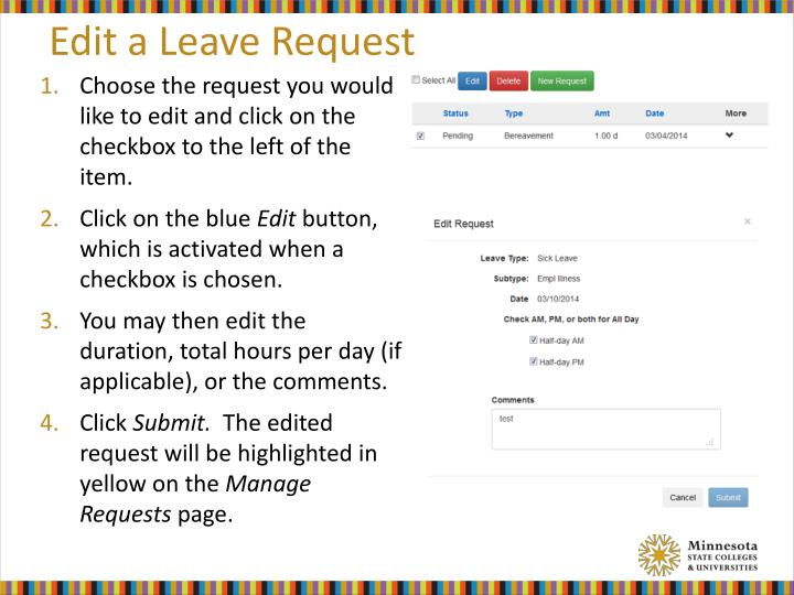 Edit a Leave Request