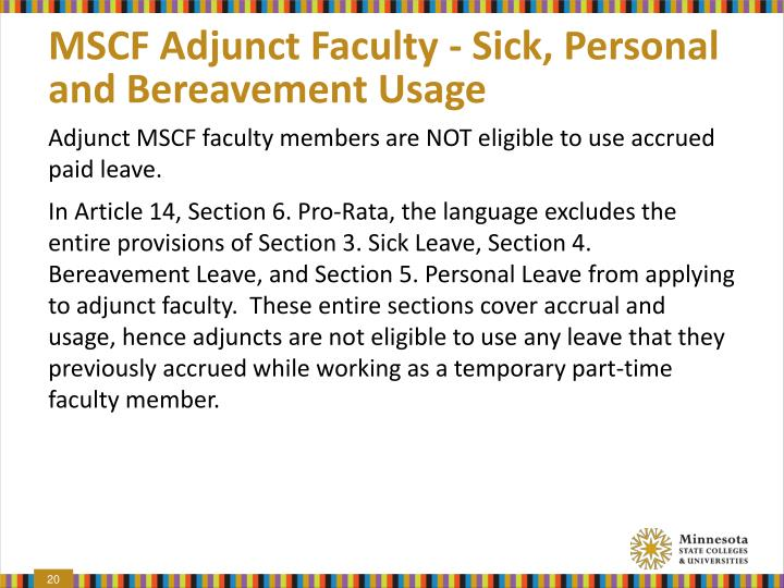 MSCF Adjunct Faculty - Sick, Personal and Bereavement Usage