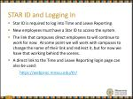 star id and logging in