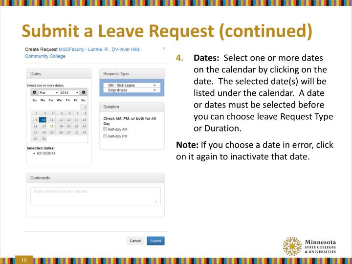 Submit a Leave