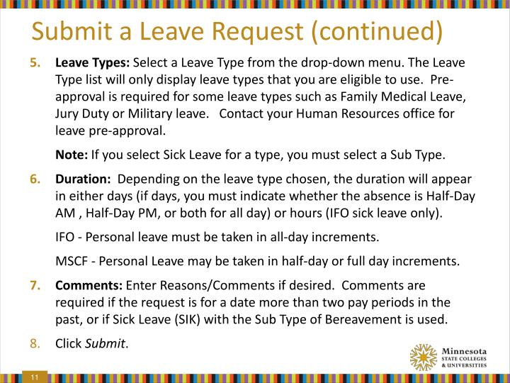 Submit a Leave Request (continued)