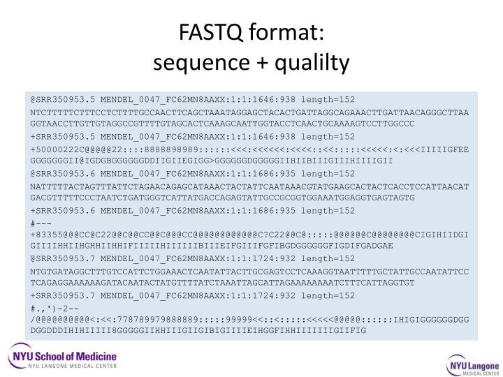 FASTQ format: