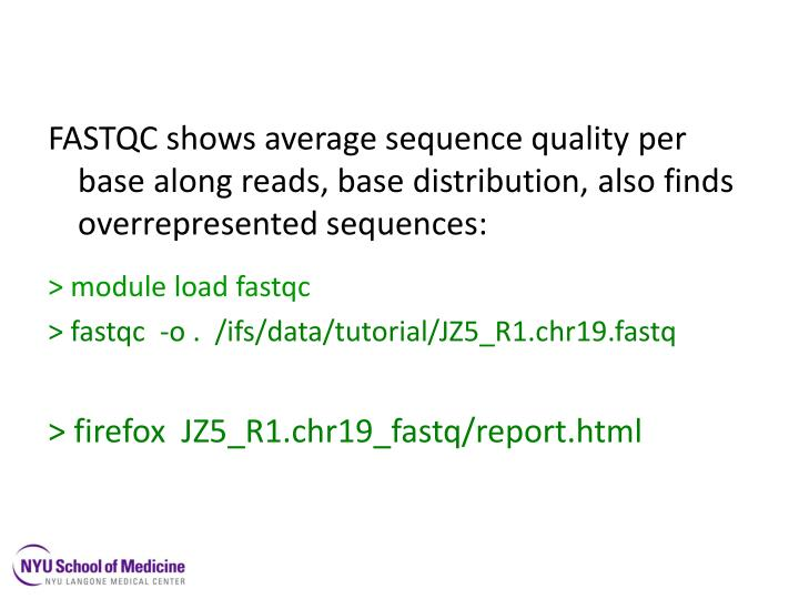FASTQC shows average sequence quality per base along reads, base distribution, also finds overrepresented