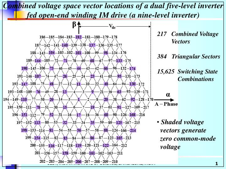 Combined voltage space vector locations of a dual five-level inverter fed open-end winding IM drive (a nine-level inverter)