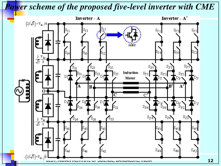 Power scheme of the proposed five-level inverter with CME