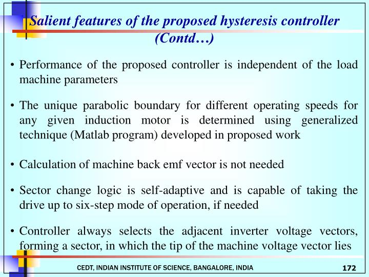 Salient features of the proposed hysteresis controller
