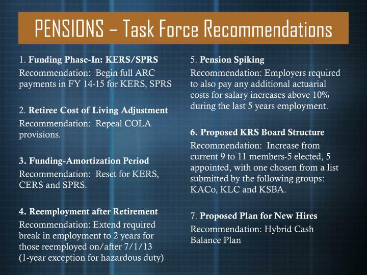 PENSIONS – Task Force Recommendations
