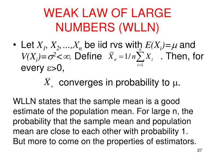 WEAK LAW OF LARGE NUMBERS (WLLN)