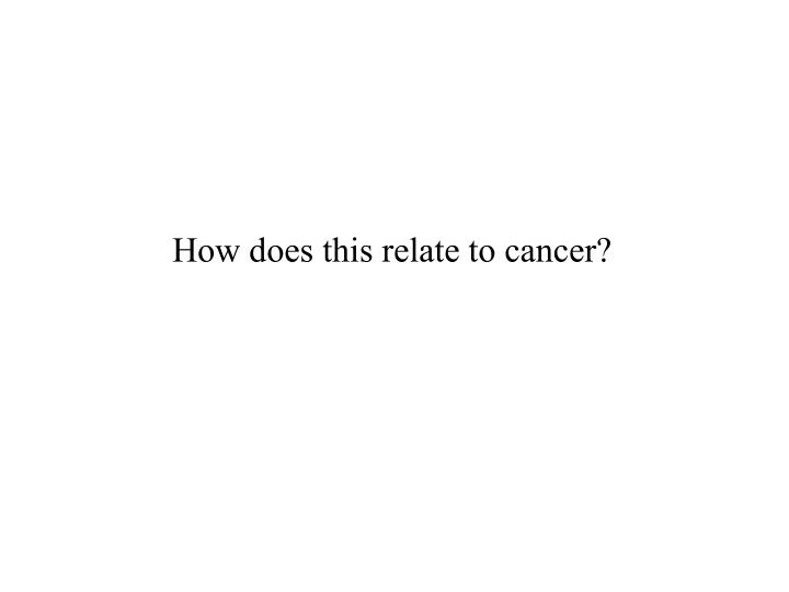 How does this relate to cancer?