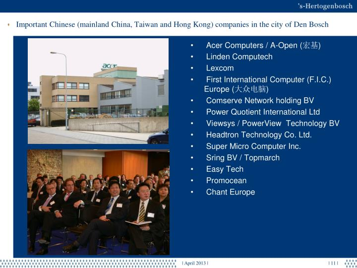 Important Chinese (mainland China, Taiwan and Hong Kong) companies in the city of Den Bosch